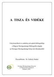 A TISZA ÉS VIDÉKE - Országos Mezőgazdasági Könyvtár