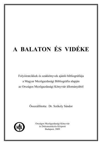 A BALATON ÉS VIDÉKE - Országos Mezőgazdasági Könyvtár