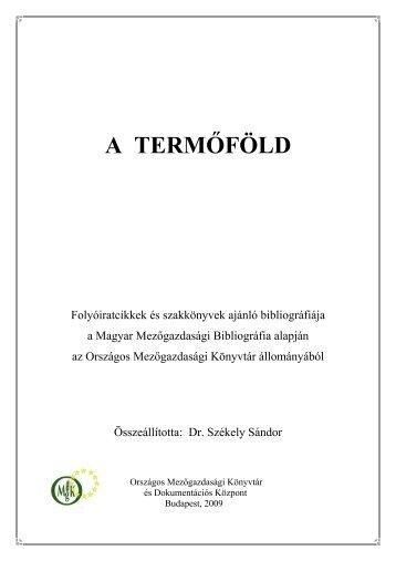 A TERMŐFÖLD - Országos Mezőgazdasági Könyvtár