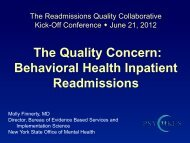 The Quality Concern: Behavioral Health Inpatient Readmissions
