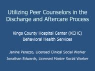 Kings County Hospital - Peer Counselors in the Discharge Process