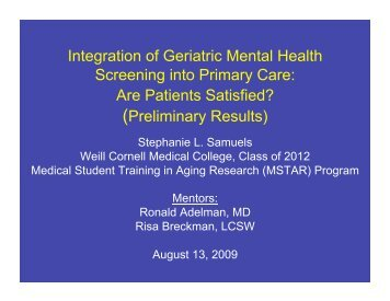 Are Patients Satisfied? - Office of Mental Health