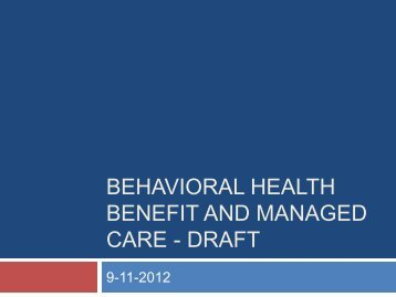 Behavioral health benefit and managed care - New York State Office ...