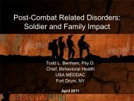 Post-Combat Related Disorders: Soldier and Family Impact