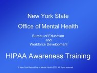 HIPAA Training Slides - Office of Mental Health - New York State