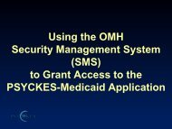 Using the OMH Security Management System - Office of Mental Health