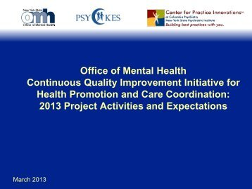 2013 Project Activities and Expectations Slides - Office of Mental ...