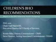 children's bho recommendations - New York State Office of Mental ...