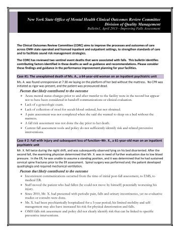 Clinical Outcomes Review Committee Bulletin 1, April 2013