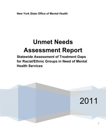 Unmet Needs Assessment Report - New York State Office of Mental ...