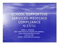 school supportive services-medicaid compliance - New York State ...