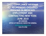 OMIG COMPLIANCE WEBINAR #1 - New York State Office of the ...
