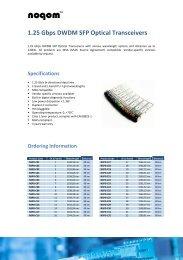 1.25 Gbps DWDM SFP Optical Transceivers - Omniray