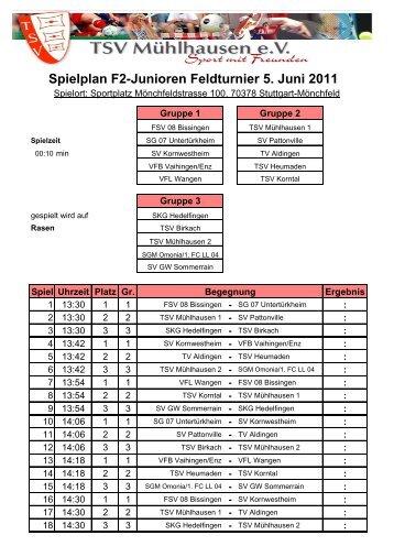 Spielplan F2-Junioren Feldturnier 5. Juni 2011 - SGM Omonia-1 ...