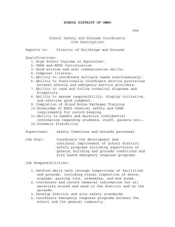 school safety and grounds coord job description school district contract manager job description