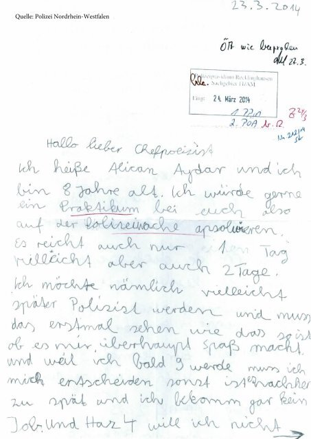 """Die """"Bewerbung"""" des 8-jährigen Alican an die Polizei Recklinghausen"""