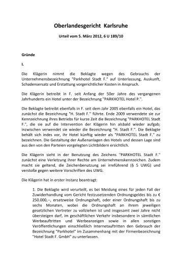 OLG Karlsruhe, Urt. v. 5.3.2012, 6 U 189/10 - omsels.info – Der ...