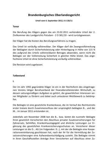 OLG Brandenburg, Urt. v. 4.9.2012, II.2.2, 6 U 20/11 - omsels.info ...