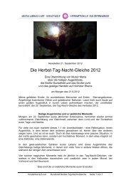 Die Herbst-Tag-Nacht-Gleiche 2012 - OMSPIRIT – Magazin