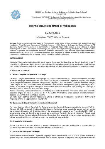 Pavelescu Dan_lucrare - Catedra de Organe de Masini si Tribologie
