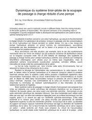 Dynamique du Système Tiroir-Pilote de la Soupape de Passage à ...