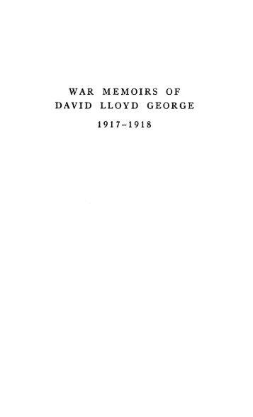 WAR MEMOIRS OF DAVID LLOYD GEORGE 1917-1918