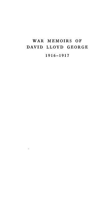 WAR MEMOIRS OF DAVID LLOYD GEORGE 1916-1917