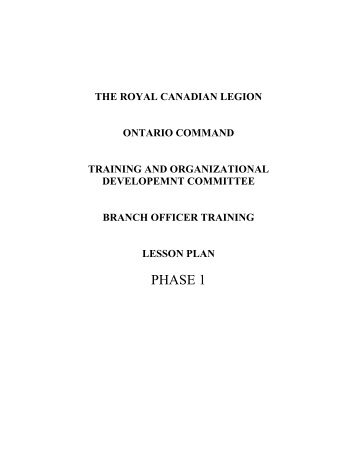 the royal canadian legion ontario command training and ...