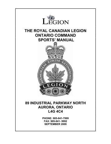 the royal canadian legion ontario command sports' manual 89 ...