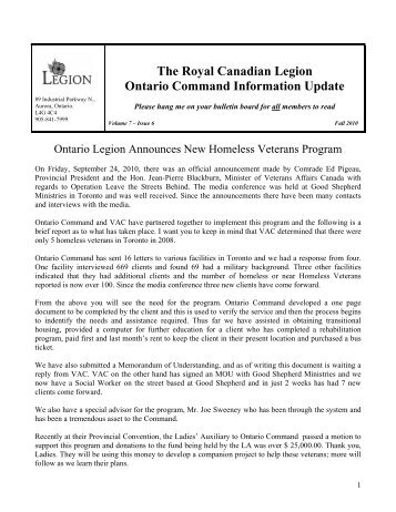 The Royal Canadian Legion Ontario Command Information Update