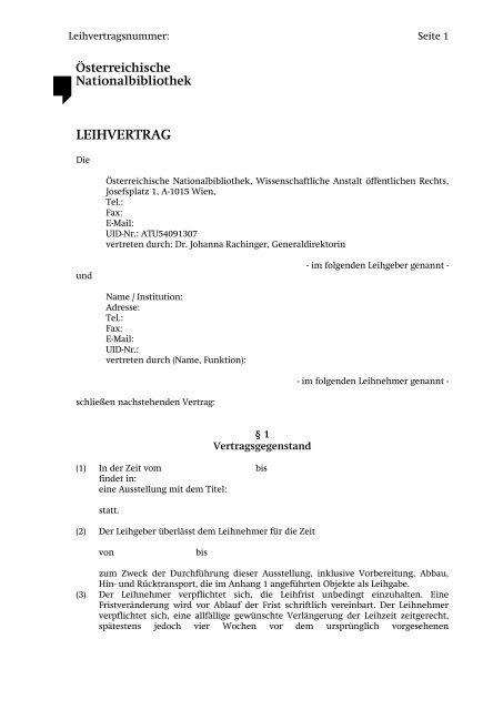 Muster Leihvertrag österreichische Nationalbibliothek