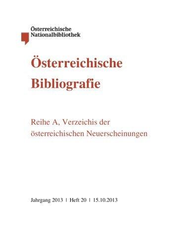 Bibliografie Heft 2013 Nr. 20 - Österreichische Nationalbibliothek