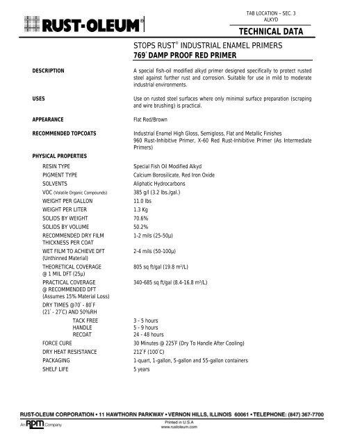 Rustoleum Stops Rust Industrial Enamel Primers pdf