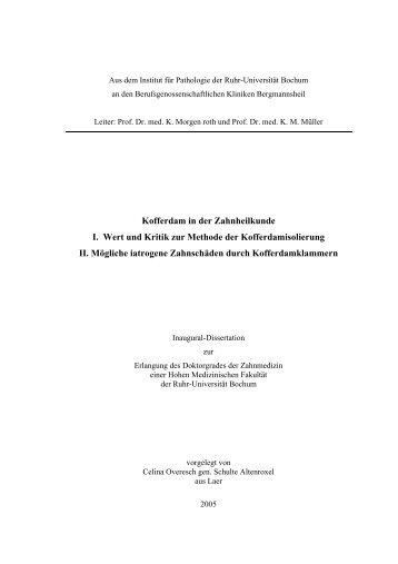 Kofferdam in der Zahnheilkunde I. Wert und Kritik - Ruhr-Universität ...