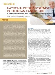 emotional distress screening in canadian cancer care - Oncology ...