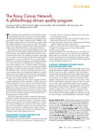The Rossy Cancer Network: A philanthropy-driven quality program