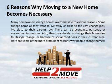 6 Reasons Why Moving to a New Home Becomes Necessary