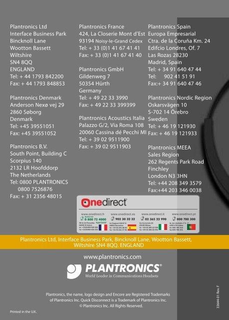 Plantronics Encore Casques Professionnels Onedirect