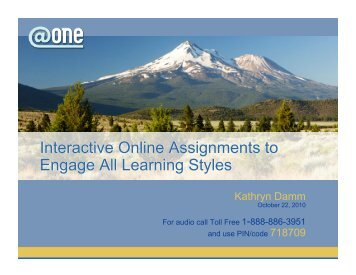PDF of slides from session (part 1) - ONE