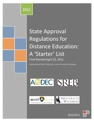 State Approval Regulations for Distance Education: A 'Starter ... - One
