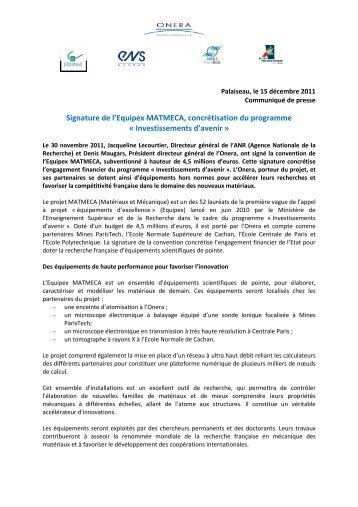 Signature de l'Equipex MATMECA, concrétisation du ... - Onera