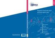 Rapport d'activité 2007 Annual report 2007 - Onerba