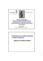 recommandations AFSSAPS pour le traitement des ... - Onerba