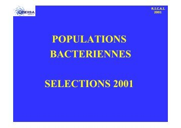 POPULATIONS BACTERIENNES SELECTIONS 2001 - Onerba