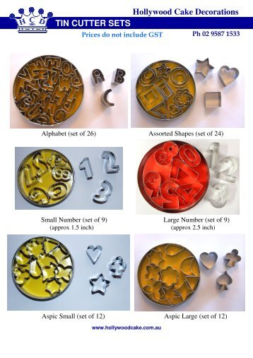 Hollywood Cake Decorations TIN CUTTER SETS
