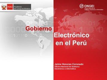 Gobierno Electrónico y la Agenda Digital Peruana - Ongei