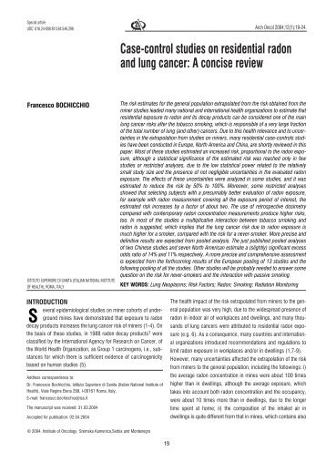 Case-control studies on residential radon and lung cancer - doiSerbia