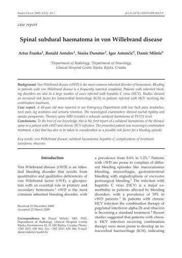 Spinal subdural haematoma in von Willebrand disease
