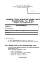 KLINIČNA POT ZA BOLNIKA V ZADNJIH DNEH ... - Onkološki inštitut