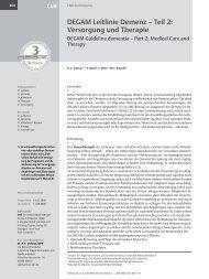 DEGAM Leitlinie Demenz – Teil 2: Versorgung und ... - ResearchGate
